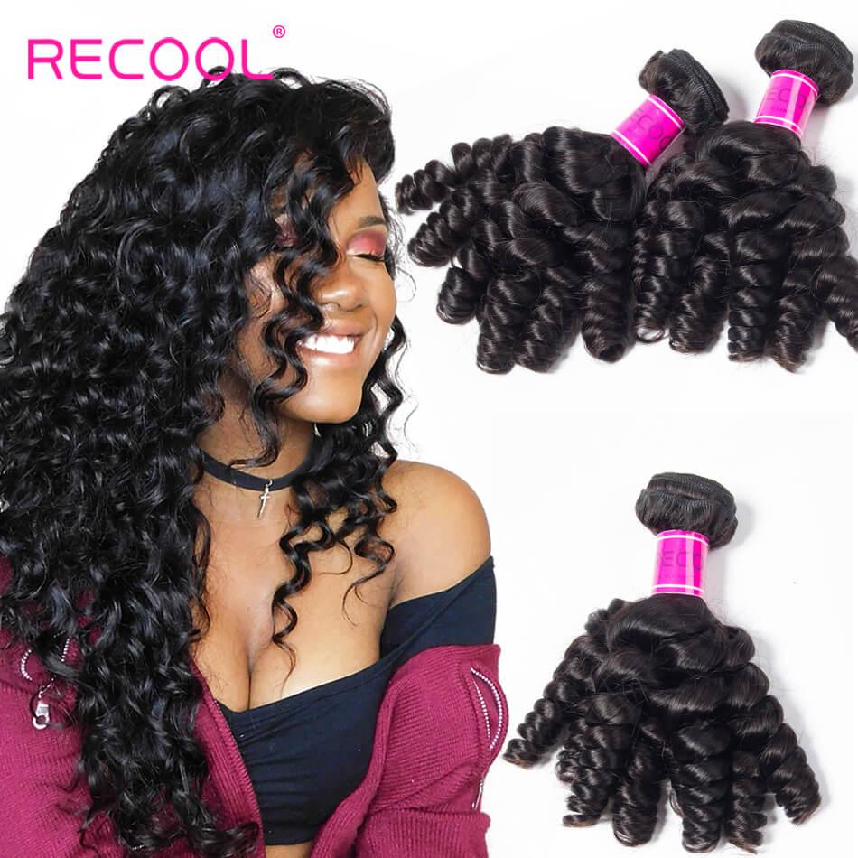 Recool Virgin Hair Funmi Hair Weave 3 Bundles 100% Unprocessed Remy Human Hair Bouncy Curly