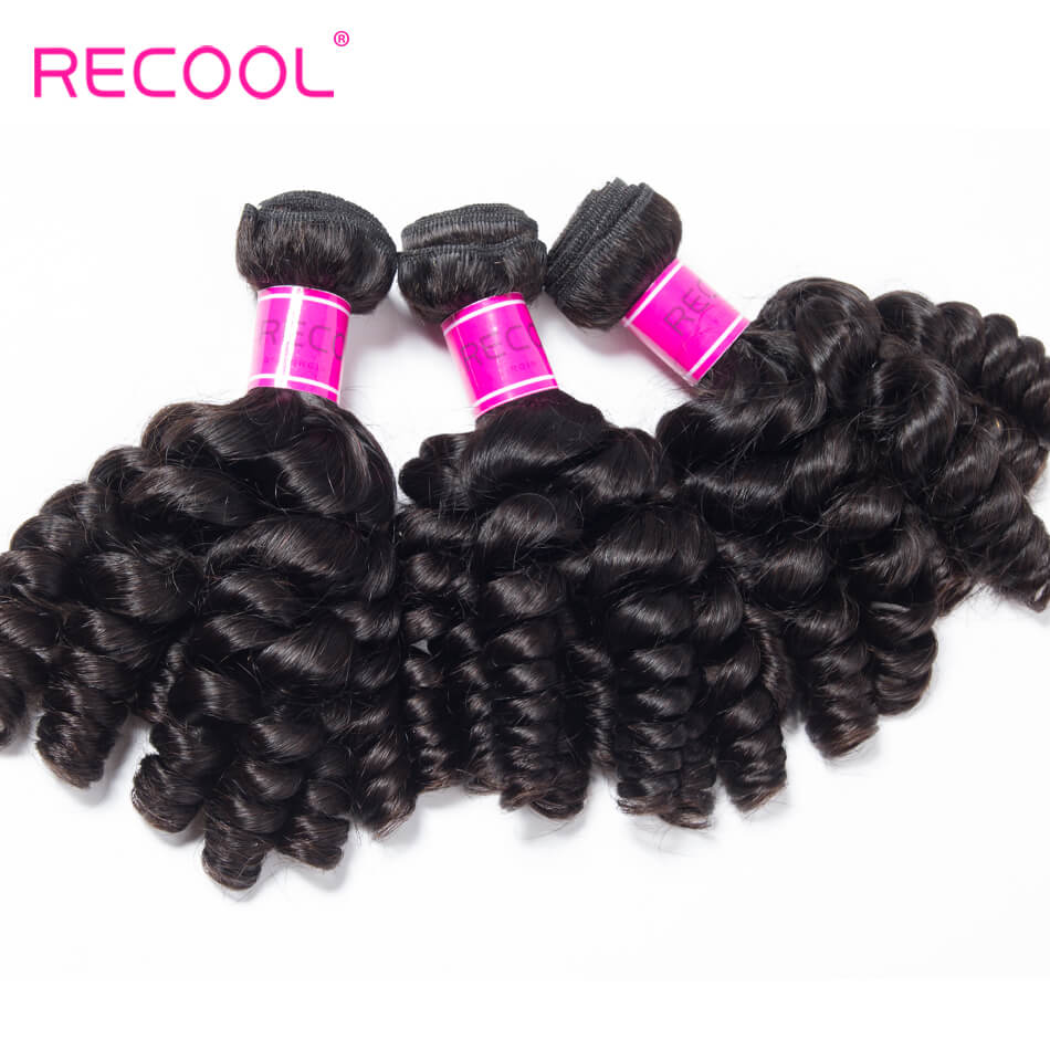 Recool Indian Virgin Hair Bouncy Curly Weave 4 Bundles Funmi Hair 100% Remy Human Hair Bundles