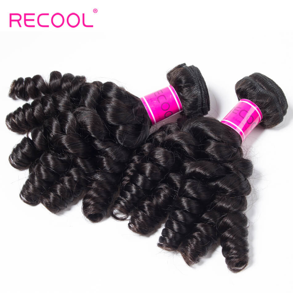 Peruvian Hair Weave Funmi Hair 4 Bundles Recool Hair Spring Egg Curly Virgin Hair Bundles Color 1B#