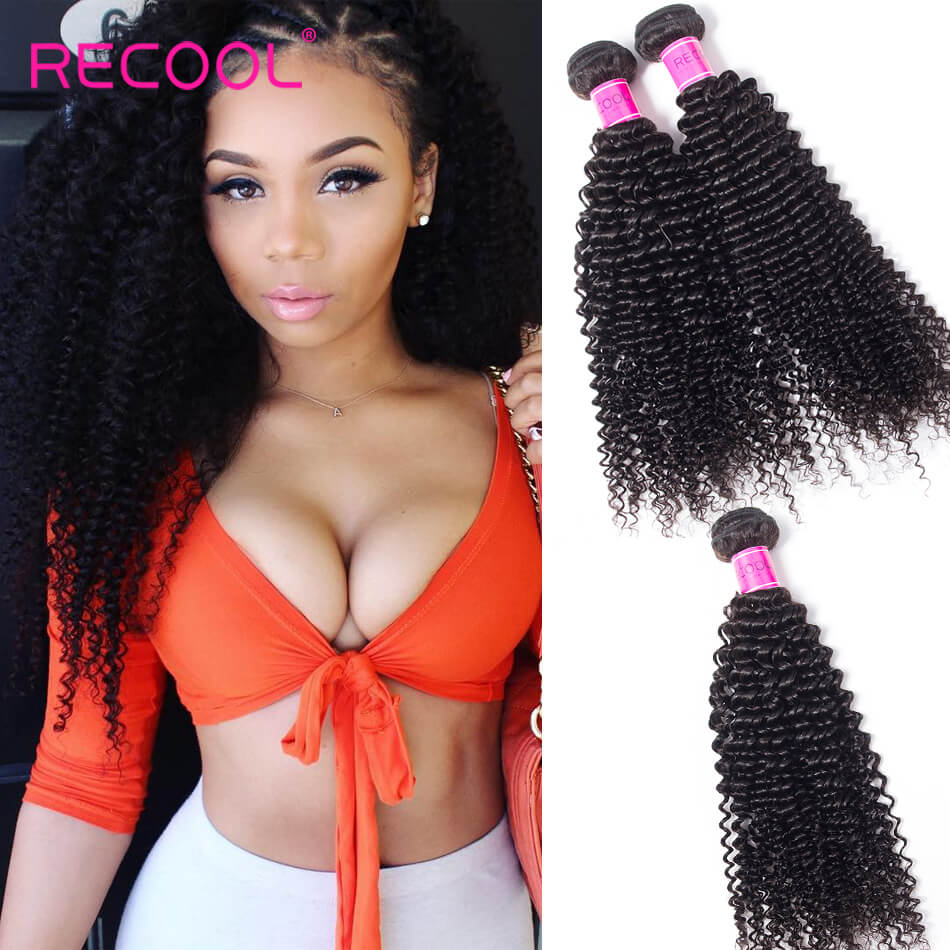 Recool Hair Kinky Curly Virgin Hair Weave 4 Bundle Deals Remy Human Hair Extension 8A Grade