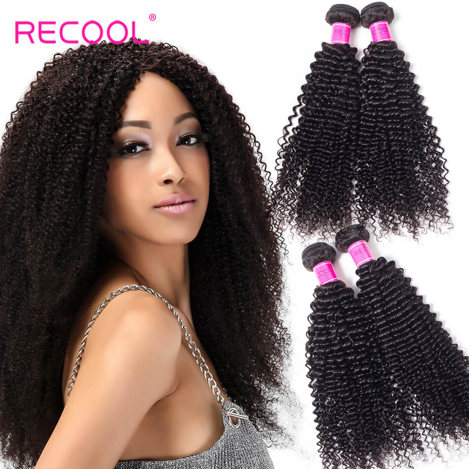 Recool Hair Kinky Curly Indian Hair 3 Bundles Deal Afro Kinky Curly 8A Virgin Human Hair Weave Extension