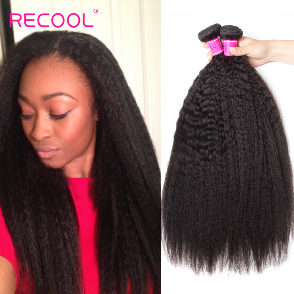 Kinky Straight Hair Indian Virgin Hair 3 Bundles Recool Hair Best 8A Grade Human Hair Yaki Straight Hair
