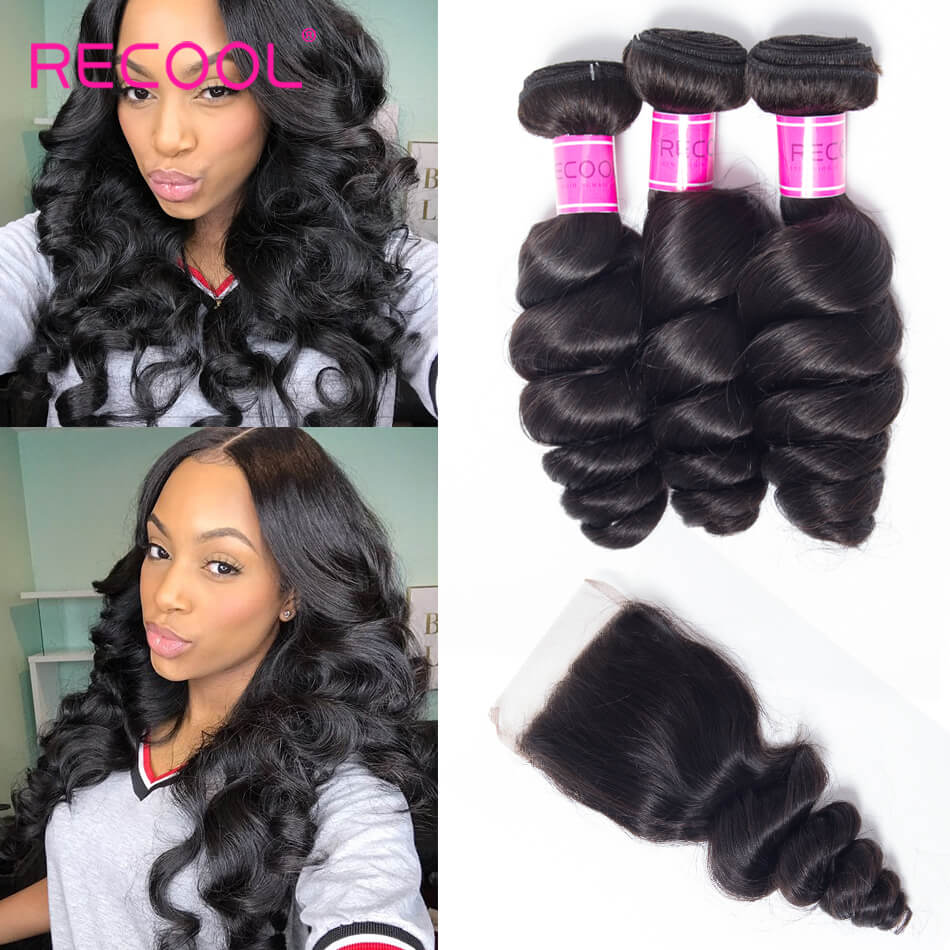 Recool Hair Loose Wave Bundles With Closure 100% Remy Vitgin Hair 3 Bundles Hair With Closure