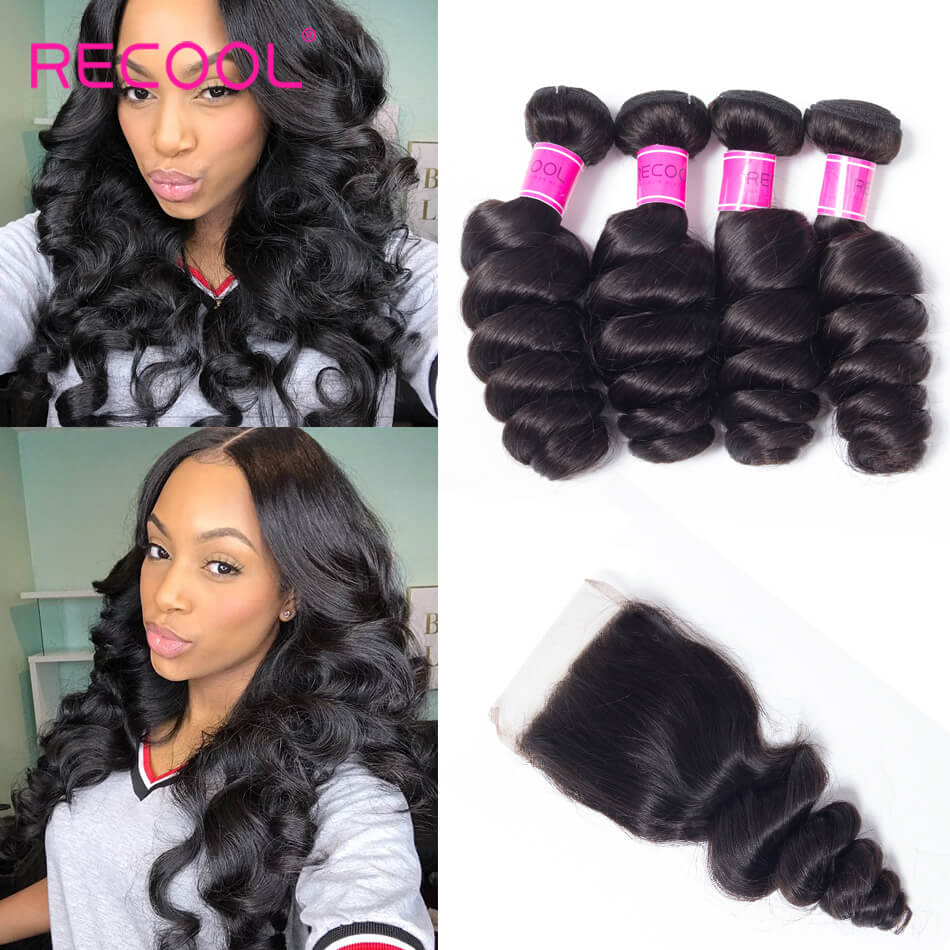 Recool Hair Loose Wave Bundles With Closure 4 Bundles With Closure Spring Loose Curly 8A Grade