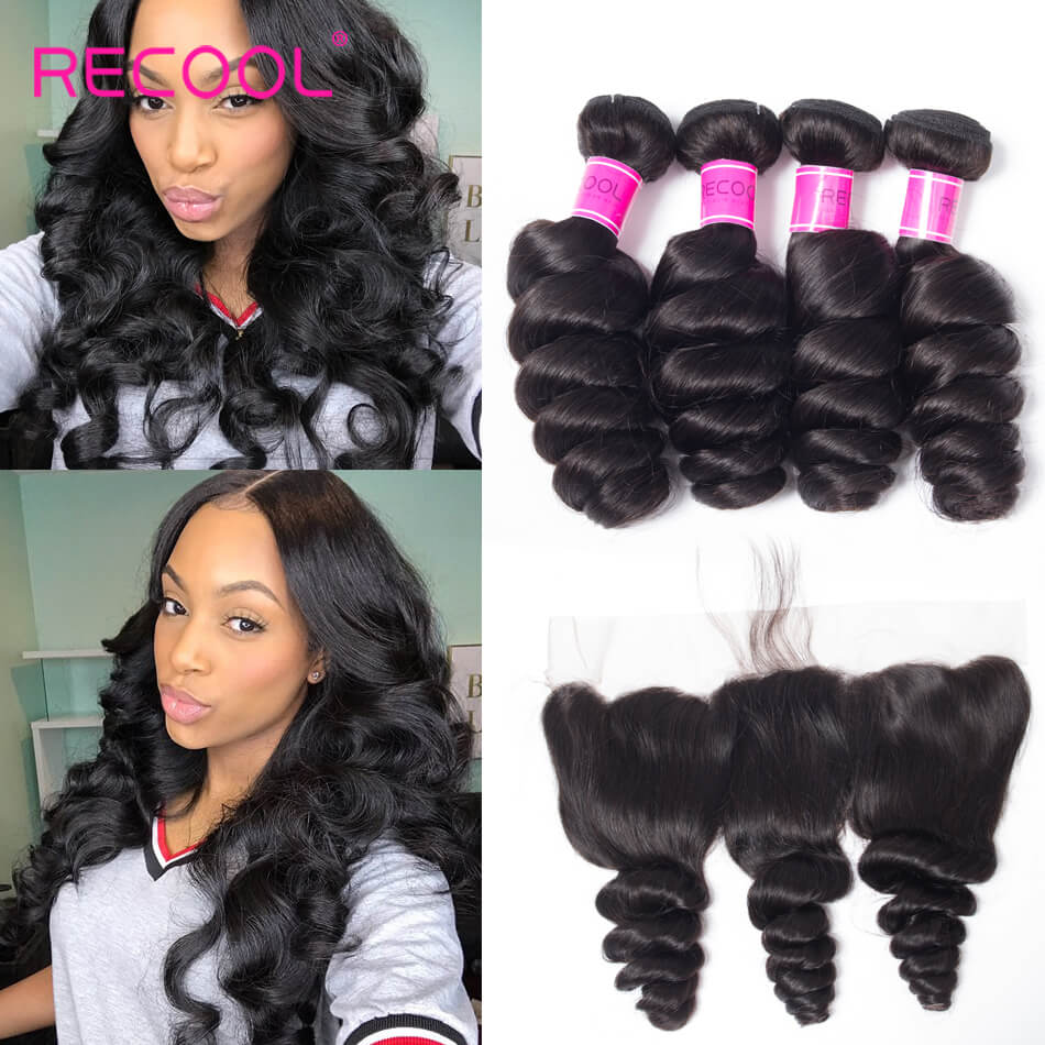 Recool Hair Loose Wave Bundles With Frontal 100% Remy Virgin Hair 4 Bundles With Frontal Spring Loose