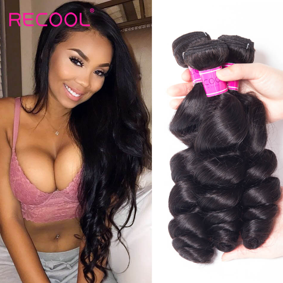 Loose Wave 3 Bundle Deals Recool Virgin Hair Loose Curly Human Hair Weave 8A High Quality