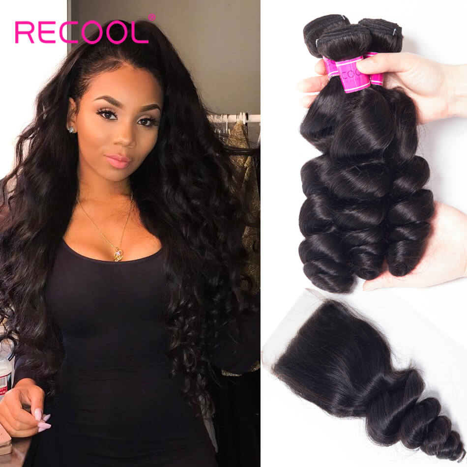 Recool Hair Loose Wave Bundles With Closure 100% Remy Vrigin Hair 4 Bundles Hair With Closure