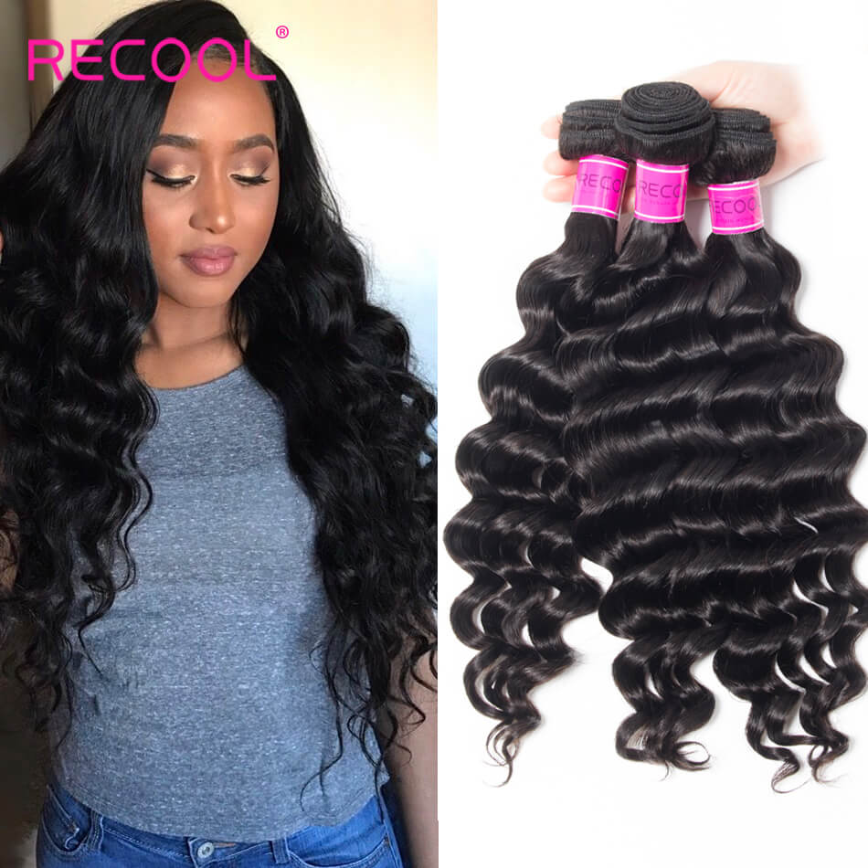 Recool Hair Loose Deep Wave 3 Bundles Virgin Human Hair 8A Loose Deep Curly Hair Bundles