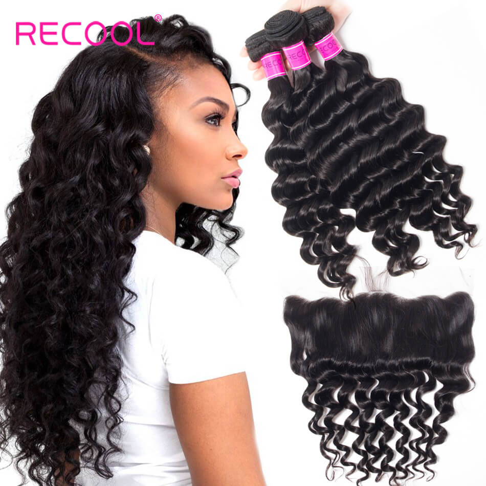 Loose Deep Wave With 13*4 Frontal Closure Best Virgin 3 Bundles Human Hair Weft With Frontal