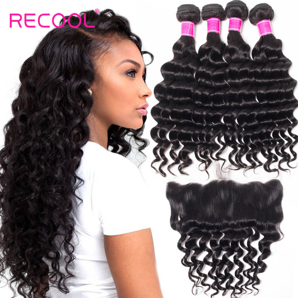 Recool Hair Lace Frontal Closure With Bundles Loose Deep Wave Hair Weave 4 Bundles With Frontal
