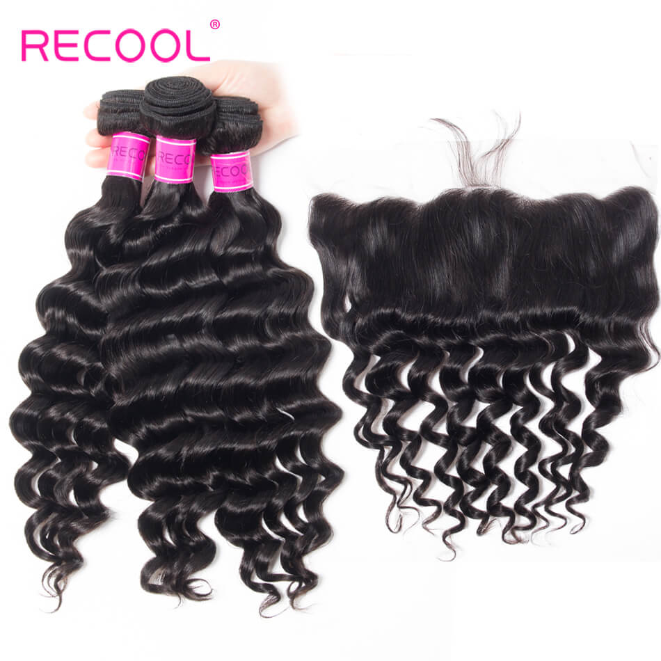 Recool Hair 8A Loose Deep Wave Lace Frontal 13x4 Ear To Ear With Loose Deep Wave Bundles 4Pcs Unprocessed Virgin Human Hair Weave With Full Lace Frontal Closure