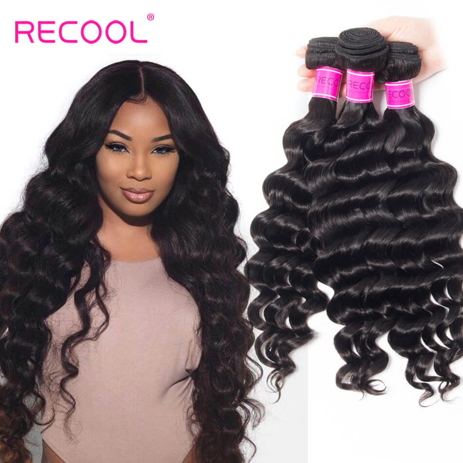 Recool Hair Loose Deep Wave 4 Bundles 8A Hair Weave Bundles Wavy Hair 100% Virgin Human Hair