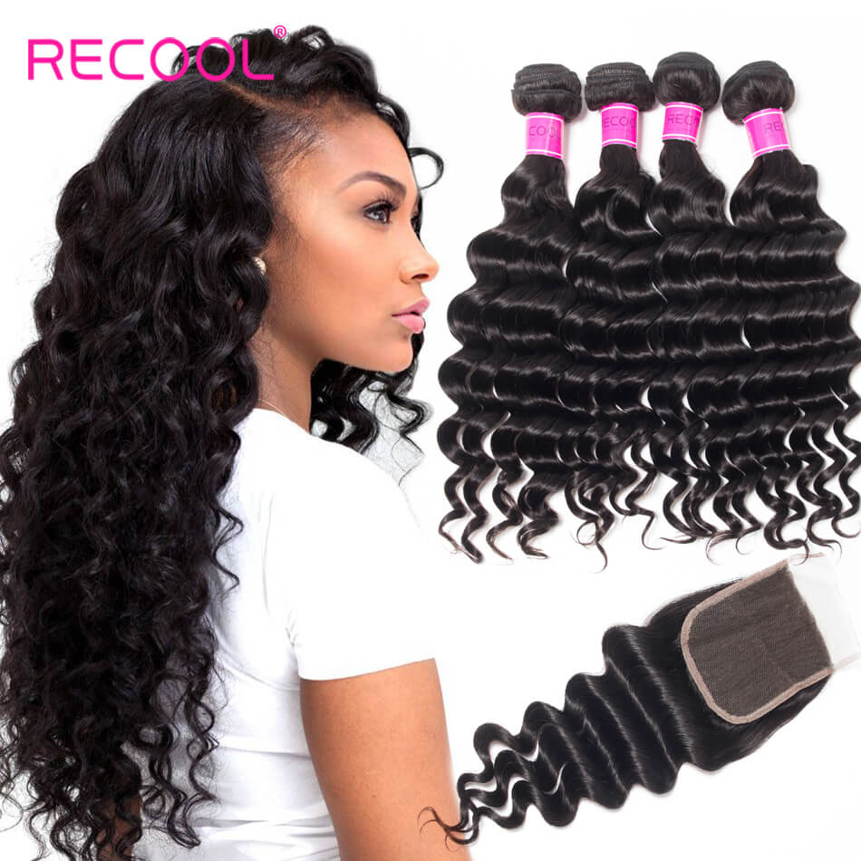 Indian Human Hair Weave With Lace Closure Recool Hair
