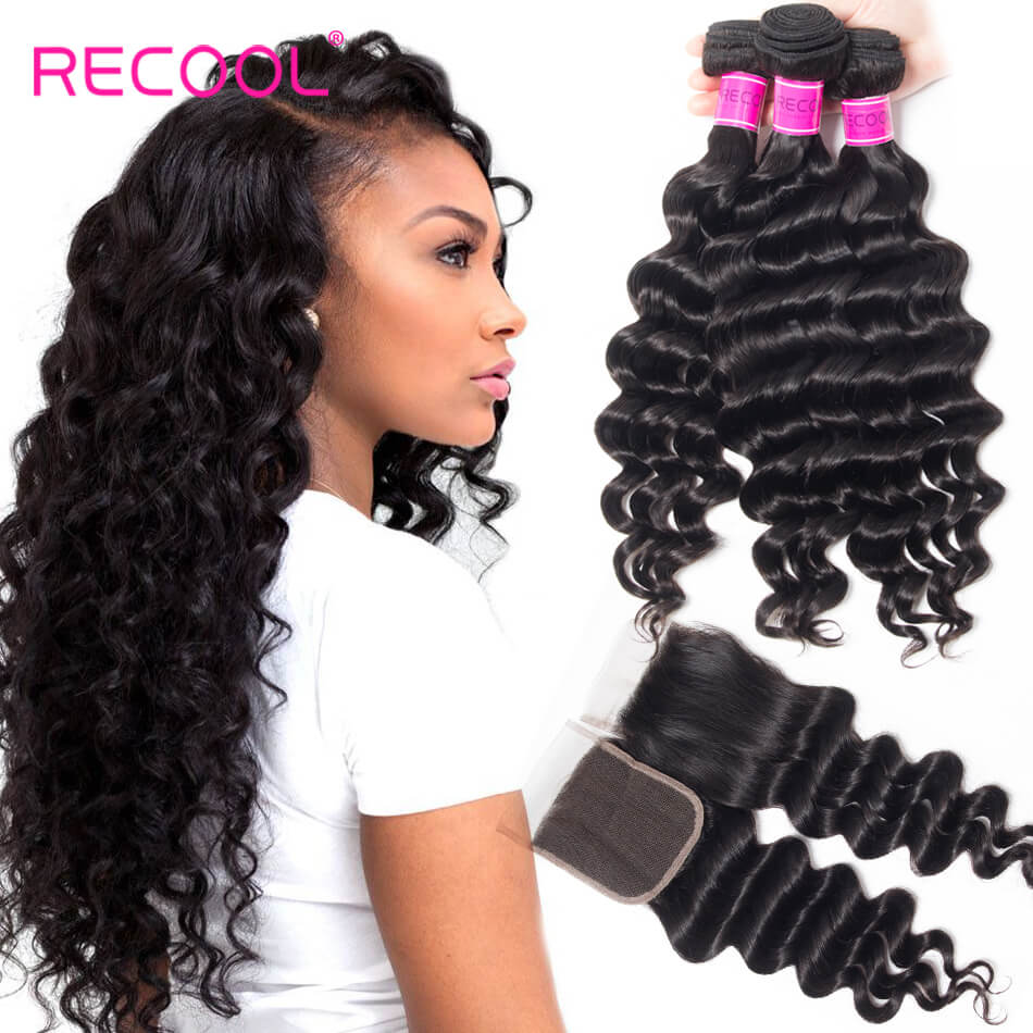 Virgin Hair 3 Bundles With Closure Loose Deep Wave 8A Human Hair Weave Bundles With Closure
