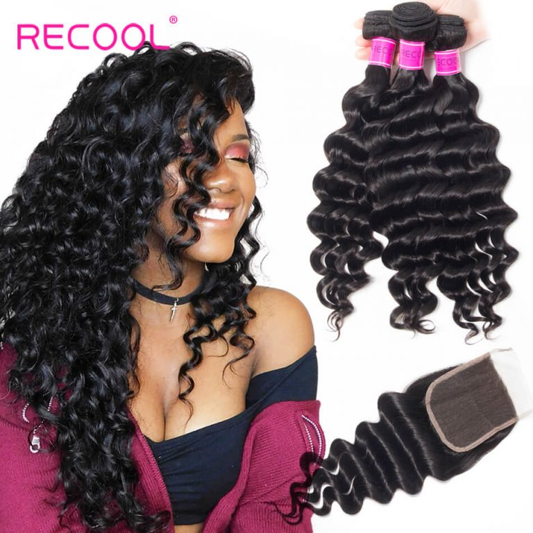Loose Deep Wave 3 Bundles Human Hair Weave With Closure Top Quality Indian Hair Bundles With Closure