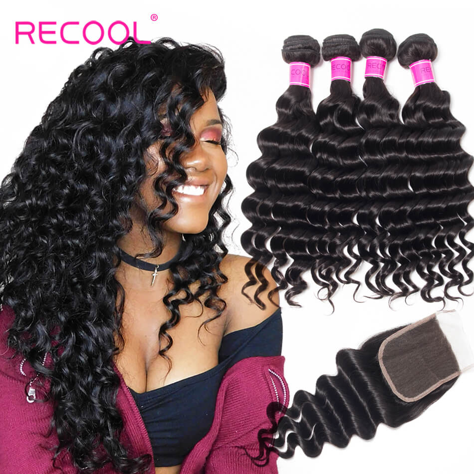 Recool Virgin Hair 4 Bundles With Closure Loose Deep Wave 8A Human Hair Bundles With Closure