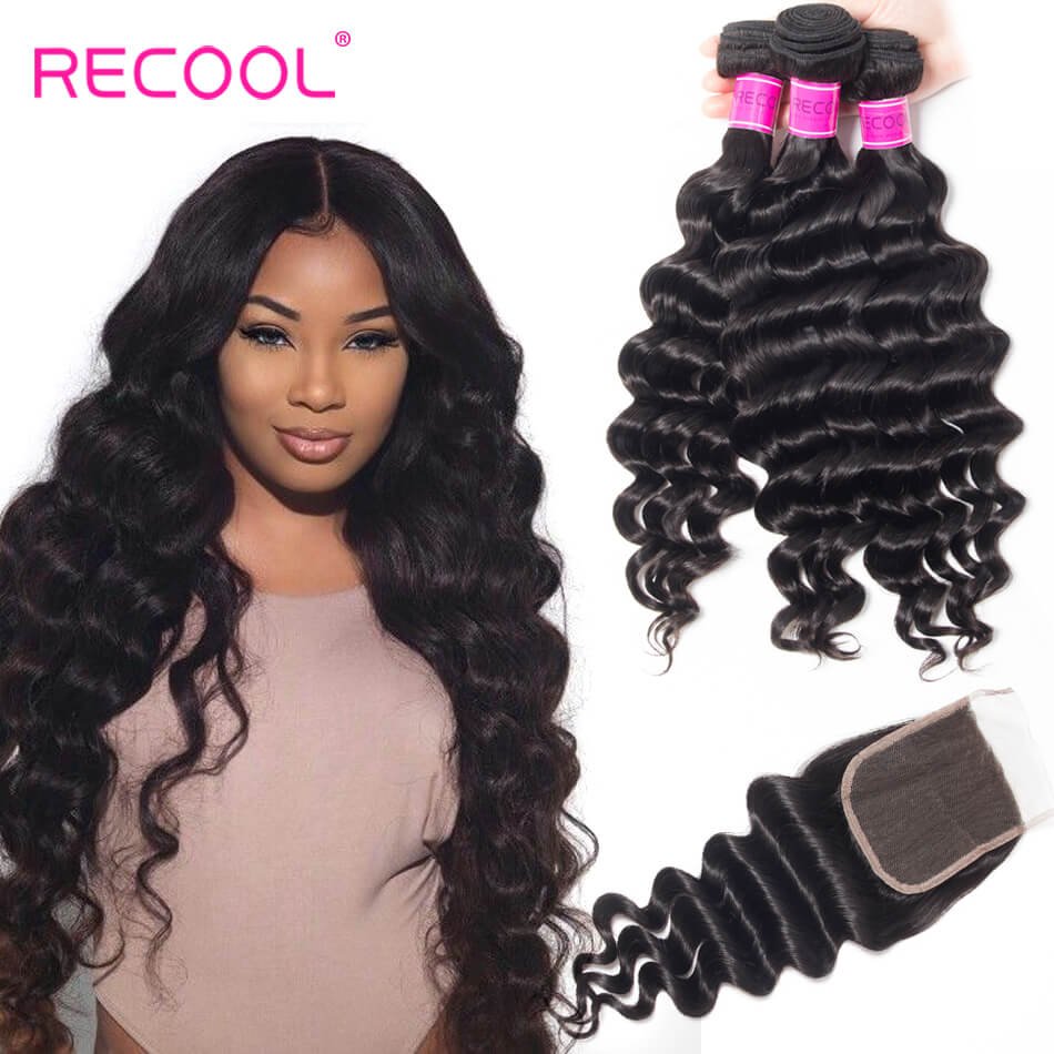 Recool Virgin Hair 3 Bundles With Closure Loose Deep Wave 8A Human Hair Bundles With Closure