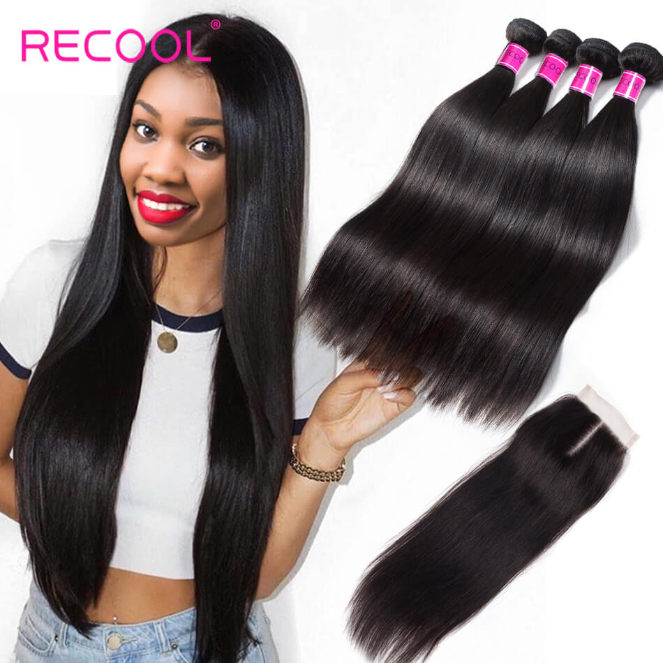 Recool Hair Indian Straight Hair 4 Bundles With Closure High Quality Virgin Human Hair Bundles With Closure