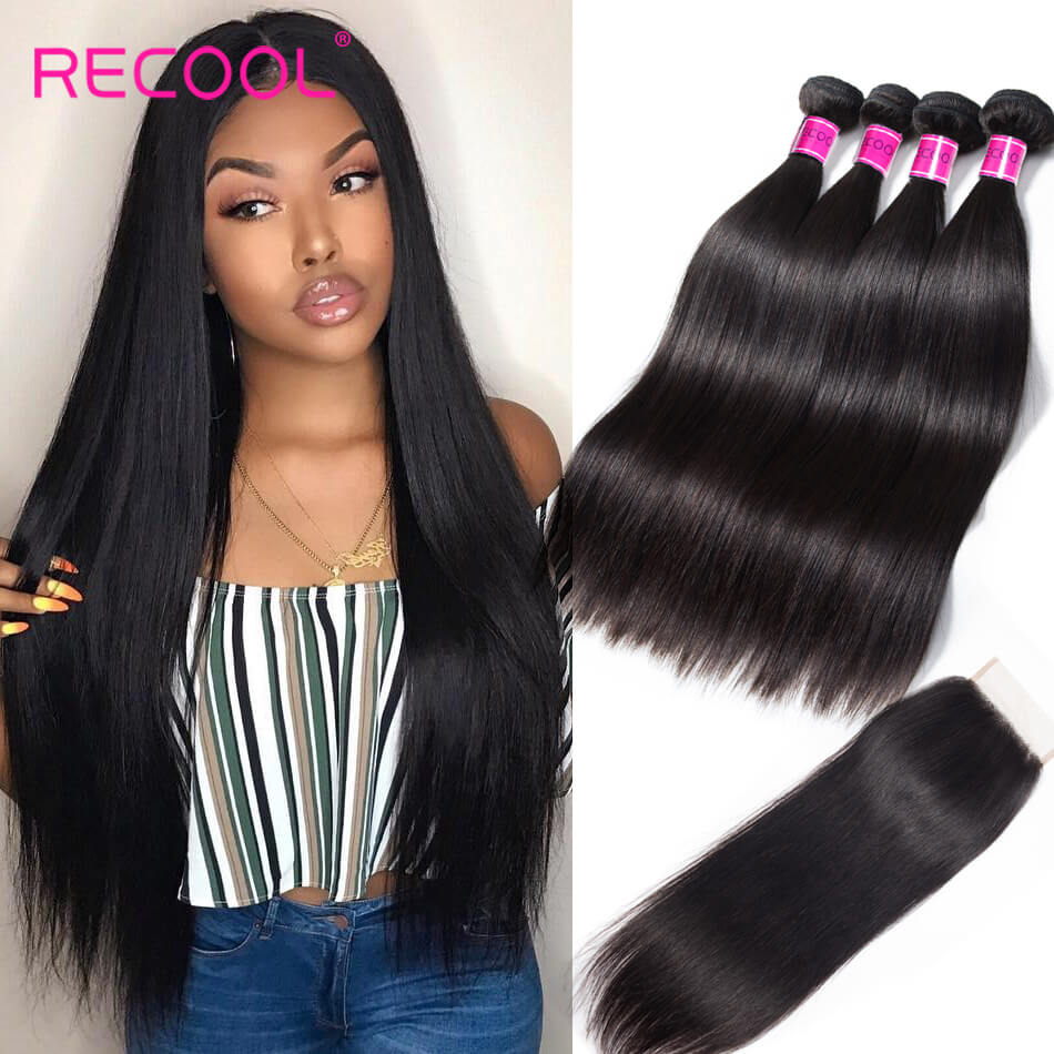 Recool Hair Peruvian Straight Virgin Hair 4 Bundles With Closure 8A Best Quality Human Hair With Closure
