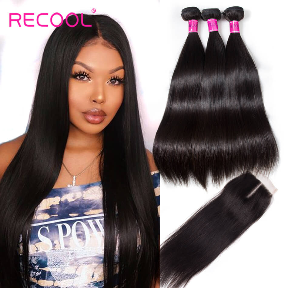 Recool Hair Peruvian Straight Hair 3 Bundles With Closure 8A Remy Virgin Human Hair Bundles With Closure