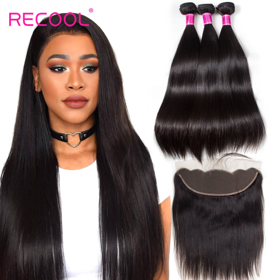 Indian Virgin Human Hair Straight Bundles With Frontal 13*4 Ear to Ear Lace Closure Natural Black Bundles