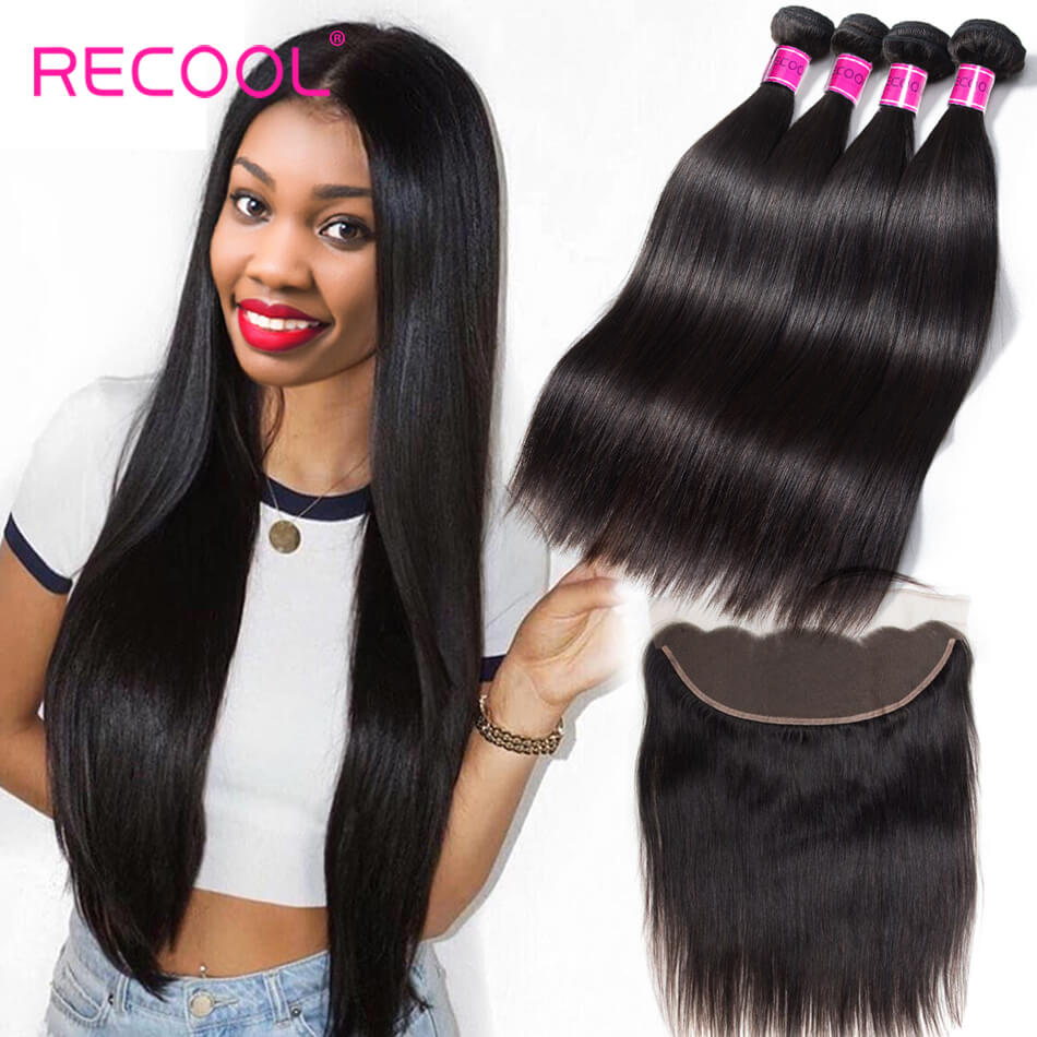 Recool Hair Lace Frontal Closure With Bundles Peruvian Virgin Hair Straight 4 Bundles With Frontal High Quality