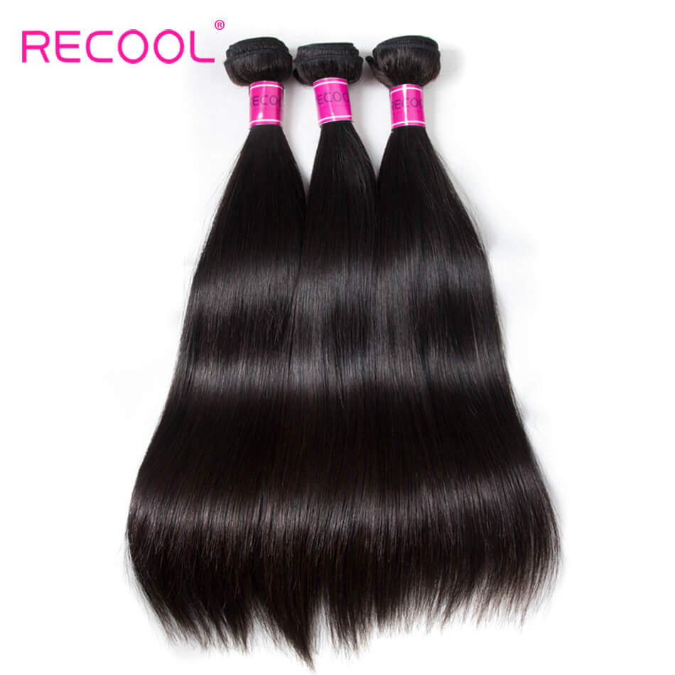 Recool Hair Straight Hair 4 Bundles 100% Virgin Human Hair Weave Bundles 8A Premium Remy Hair