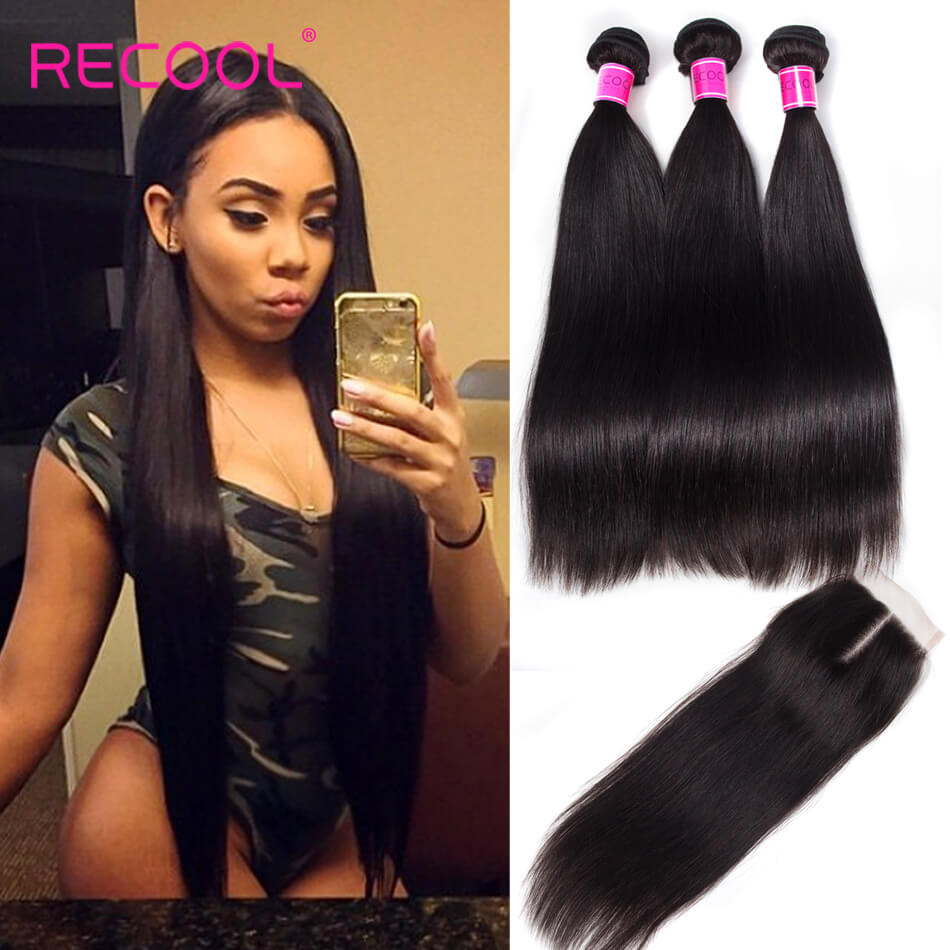 Recool Hair Malaysian Straight Hair 3 Bundles With Closure High Quality Virgin Human Hair Bundles With Closure