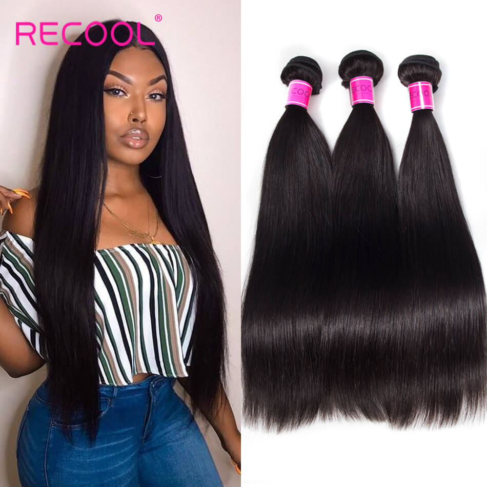 Recool Hair Straight 3 Bundles Remy Virgin Human Hair Weave Bundles 8A Best Quality