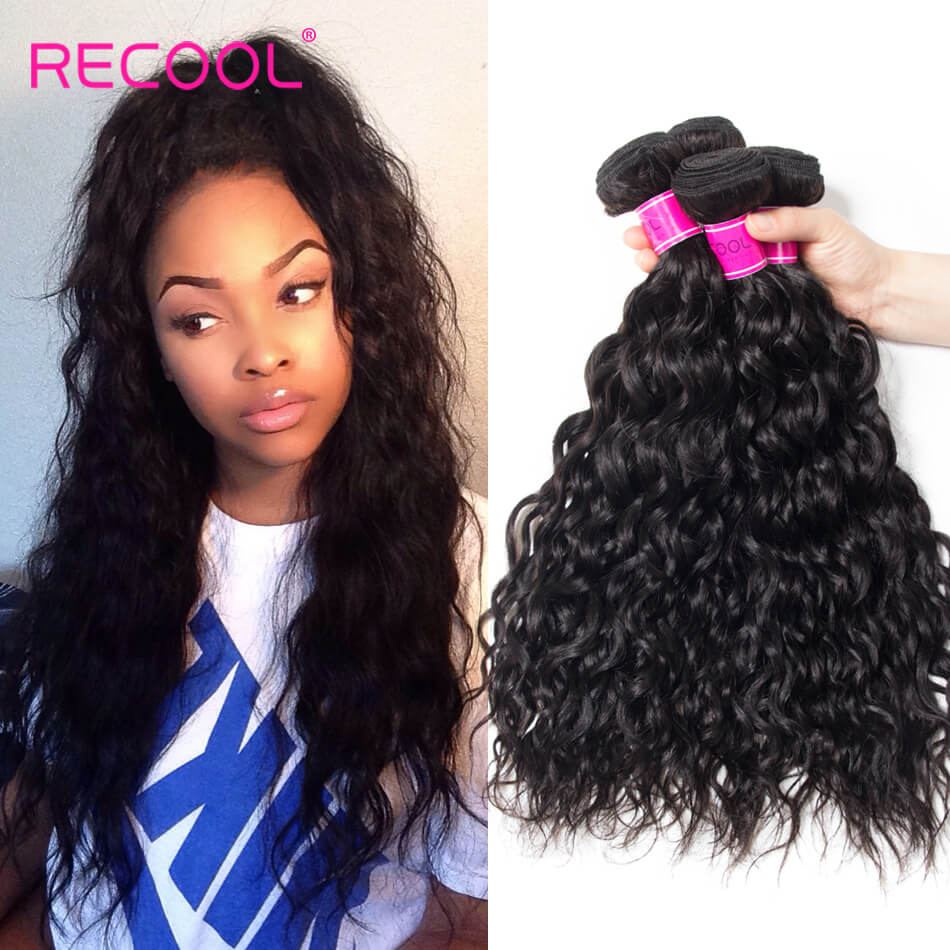 Wet And Wavy Human Hair Weave 4 Bundles Recool Hair Virgin Hair Water Wave Bundles