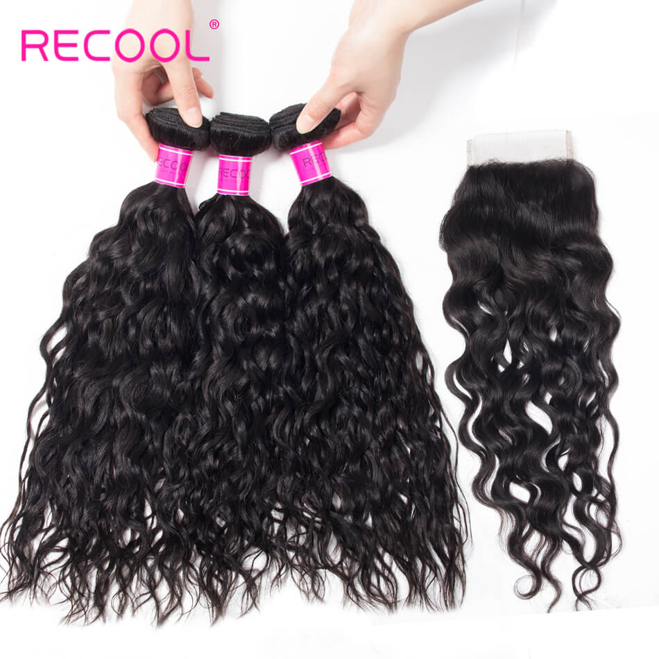 Recool Hair Wet And Wavy Human Hair Weave With Closure Water Wave 4 Bundles With Closure