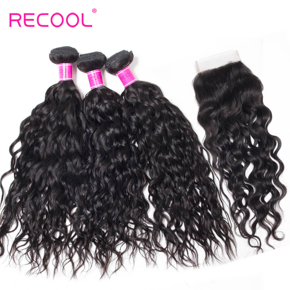 Water Wave Bundles With Closure Recool Hair 3 Bundles Wet And Wavy Human Hair Weave With Closure