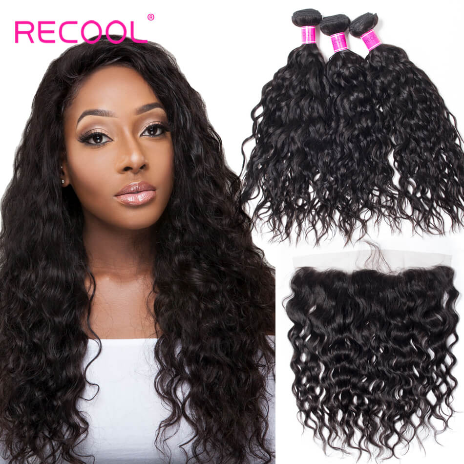 3 Bundles Water Weave With Frontal Wet And Wavy Human Hair Weave Bundles With Frontal No Shedding No Tangle