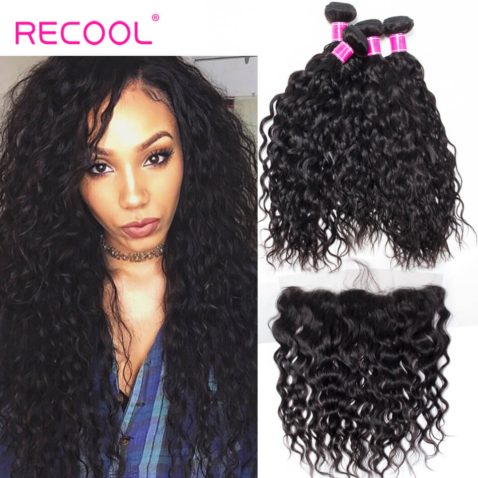 Recool Hair Water Wave With Frontal Wet And Wavy Human Hair Weave 4 Bundles With Frontal