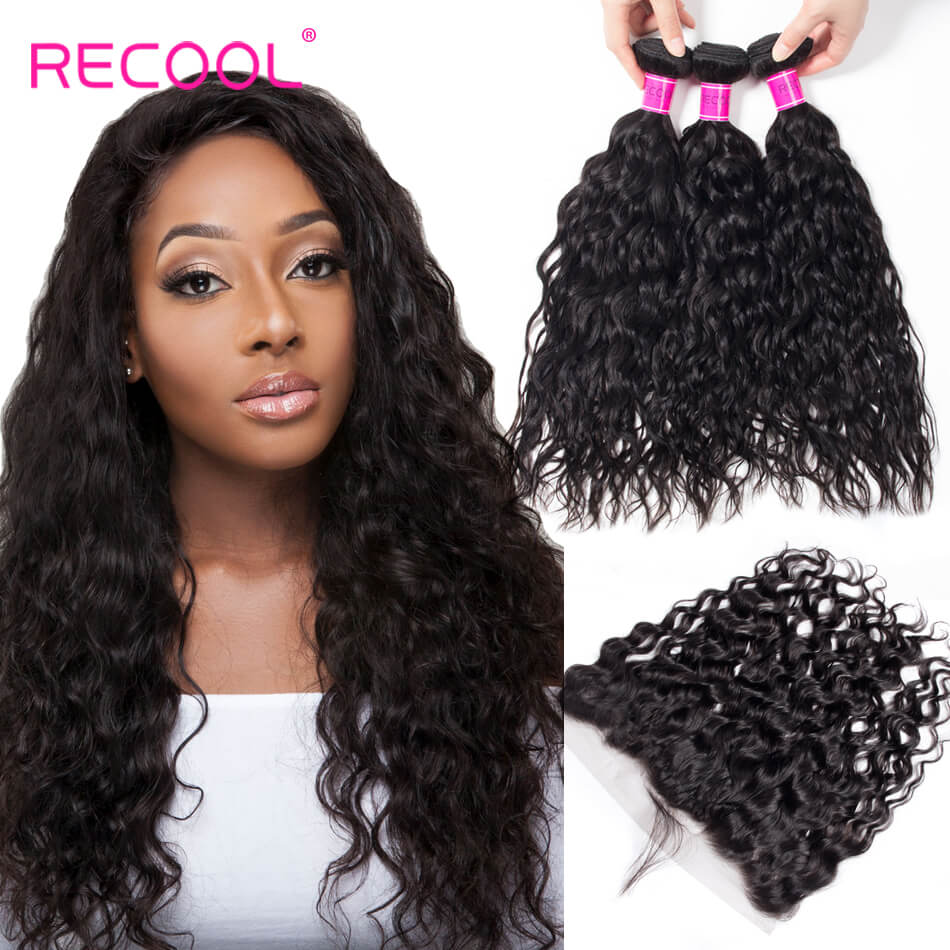 Water Wave 4 Bundles With Frontal Recool Hair Wet And Wavy Human Hair Weave Bundles With Frontal