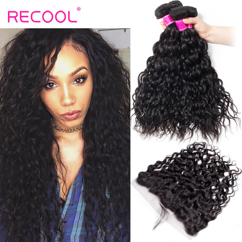 Recool Human Hair 4PCS Indian Virgin Wet and Wavy Hair With Lace Frontal Closure Water Wave With Frontal 13x4 Lace Frontal Closure With Bundles