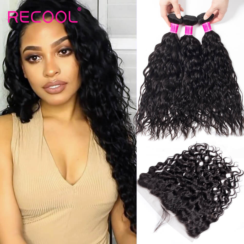 Wet And Wavy Human Hair Weave Bundles With 13*4 Frontal Soft Water Wave 3 Bundles With Frontal Natural Hair