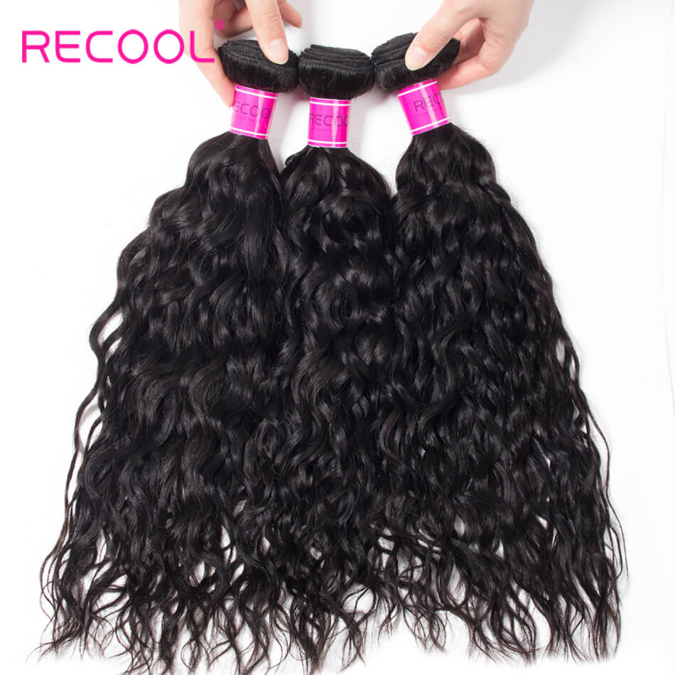 Recool Hair Water Wave 3 Bundles Raw Virgin Hair Wet And Wavy Human Hair Weave Bundles