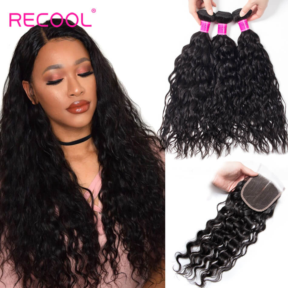 Recool Hair Water Wave With Closure Wet And Wavy Human Hair Weave 3 Bundles With Closure