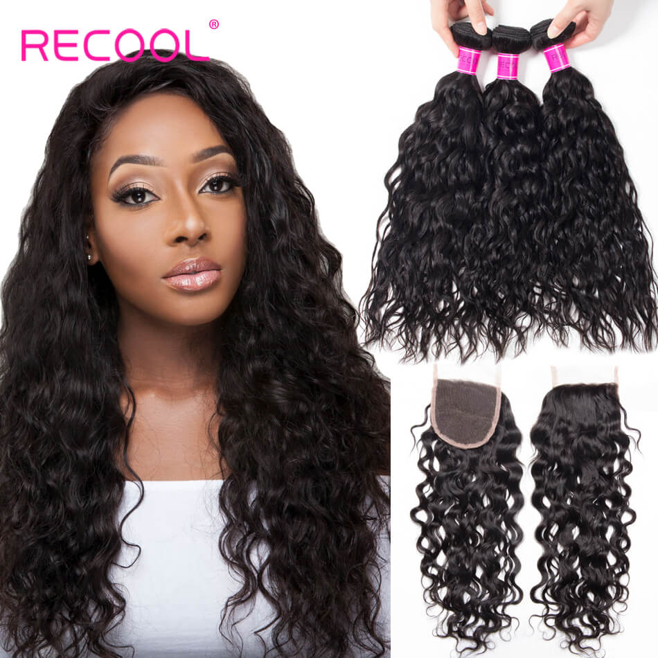 Recool Hair Wet And Wavy Human Hair Weave With Closure Water Wave 3 Bundles With Closure