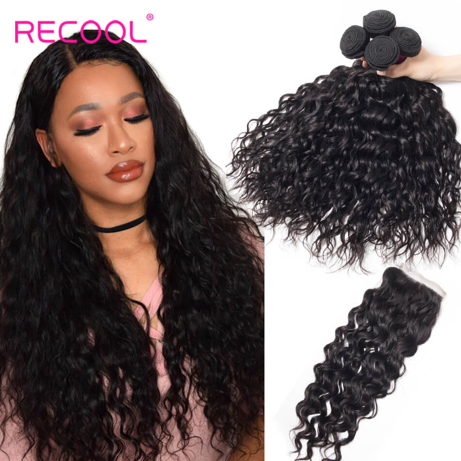 Recool Hair Water Wave With Closure Wet And Wavy Human Hair Weave 4 Bundles With Closure
