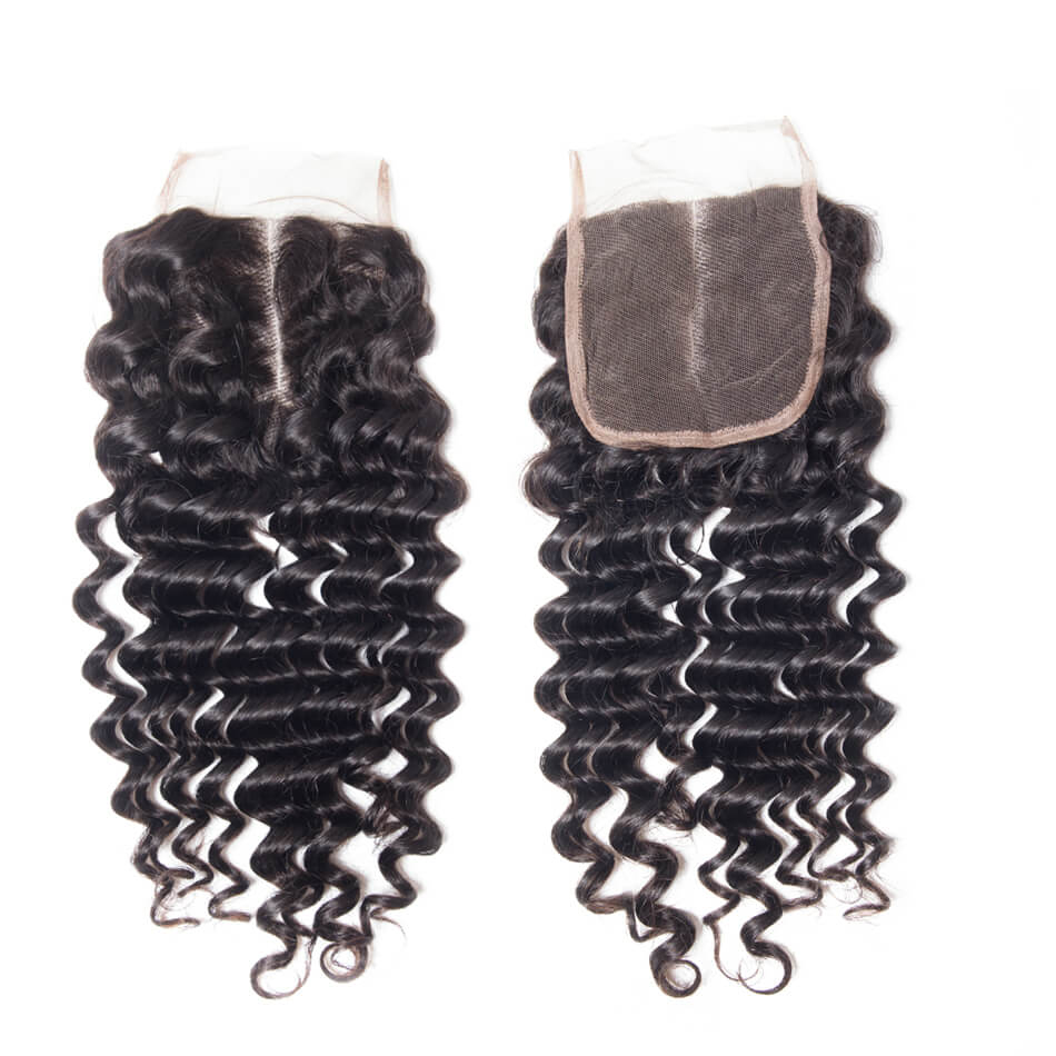 Virgin Hair Deep Wave Human Hair 4×4 Lace Closure 1 PCS
