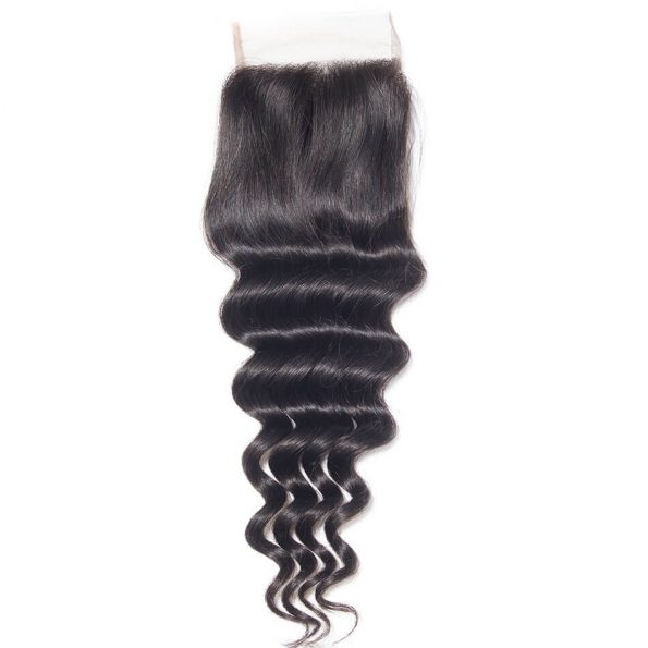 Virgin Hair Loose Deep Wave Human Hair 4×4 Lace Closure 1 PCS