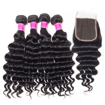 Virgin Peruvian Hair Loose Deep Wave 4 Bundles With Closure