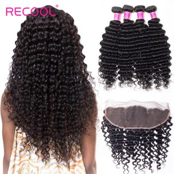 Brazilian Deep Wave Bundles With Frontal Recool Hair 4 Bundles Human Hair Weave With Frontal Top Quality
