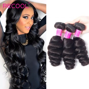 Recool Hair Brazilian Loose Wave Bundles Virgin Hair Weave 3 Bundles Spring Loose Curly Human Hair