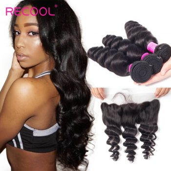 Recool Hair With Frontal Malaysian Loose Wave Virgin Hair With 13*4 Frontal Spring Loose Curly 3 Bundles Hair With Frontal