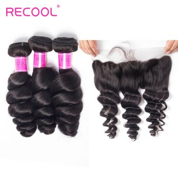 Recool Virgin Hair Peruvian Loose Wave With Frontal Peruvian Virgin Hair Spring Curly 3 Bundles Hair Weft With Frontal