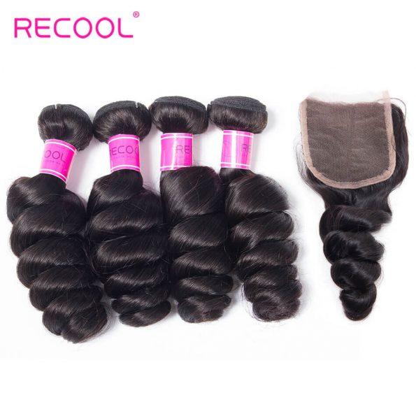 recool hair loose wave 4 bundles with closure 5