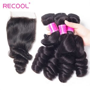 Recool Hair Malaysian Loose Wave Bundles With Closure 100% Remy Virgin Hair 4 Bundles With Closure